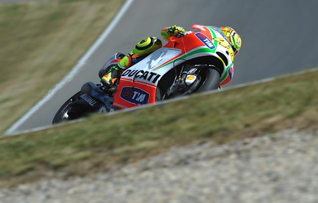 Moto GP rider Valentino Rossi of Italy rides his Ducati during the free practice session at the Czech Republic Grand Prix in Moto 2 on August 24, 2012 in Brno ahead of the Grand prix on August 26. AFP PHOTO/ MICHAL CIZEKERIC FEFERBERG/AFP/GettyImages