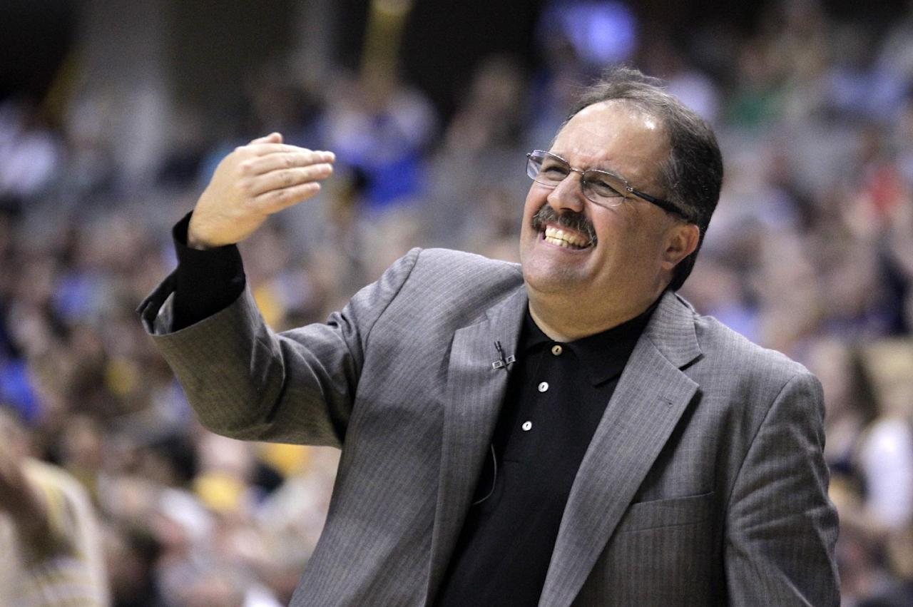 FILE - This May 8, 2012 file photo shows Orlando Magic head coach Stan Van Gundy calling a play in the second half of the Game 5 of an NBA first round basketball series against the Indiana Pacers, in Indianapolis. The Magic have fired coach Van Gundy after a rocky season. The moves came Monday, May 21, 2012 after the team's second straight first-round playoff exit. (AP Photo/Michael Conroy, File)
