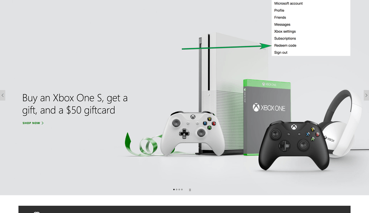 How to redeem an Xbox One code
