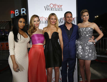 """Cast members Minaj, Mann, Diaz, Kinney and Upton pose at the premiere of the film """"The Other Woman"""" in Los Angeles"""