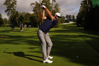 Dustin Johnson tees off on the 18th hole during the first round of the Masters golf tournament Friday, Nov. 13, 2020, in Augusta, Ga. (AP Photo/Matt Slocum)
