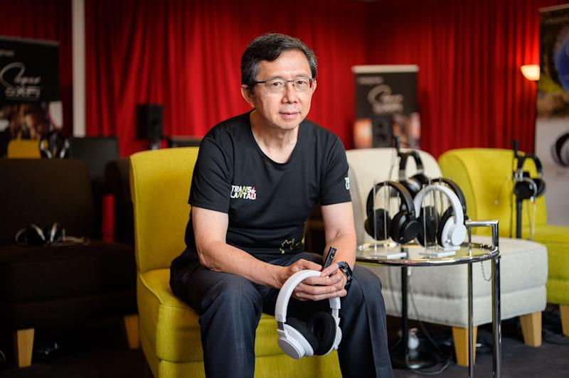 Creative Technology CEO Sim Wong Hoo with Super X-fi products in hand. (PHOTO: Joseph Nair/Yahoo News Singapore)