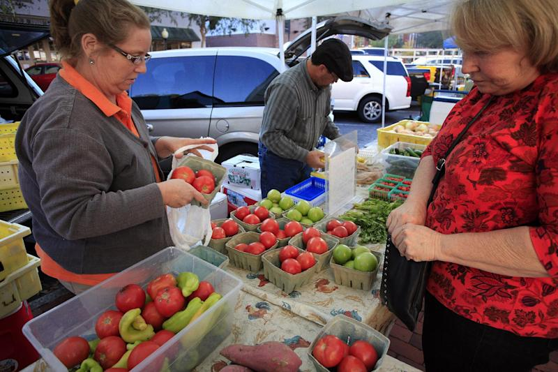 FILE - In this Wednesday, Nov. 7, 2012, file photo, Gloria Castenholz, right, purchases tomatoes  at the Union Street Farmer's Market in downtown Gainesville, Fla. Cheaper gas drove down a measure of wholesale prices in November for the second straight month, a sign inflation remains in check. (AP Photo/The Gainesville Sun, Erica Brough)  THE INDEPENDENT FLORIDA ALLIGATOR OUT
