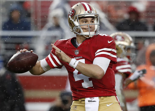 Nick Mullens has continued to impress this season for the 49ers. (AP Photo/Tony Avelar)