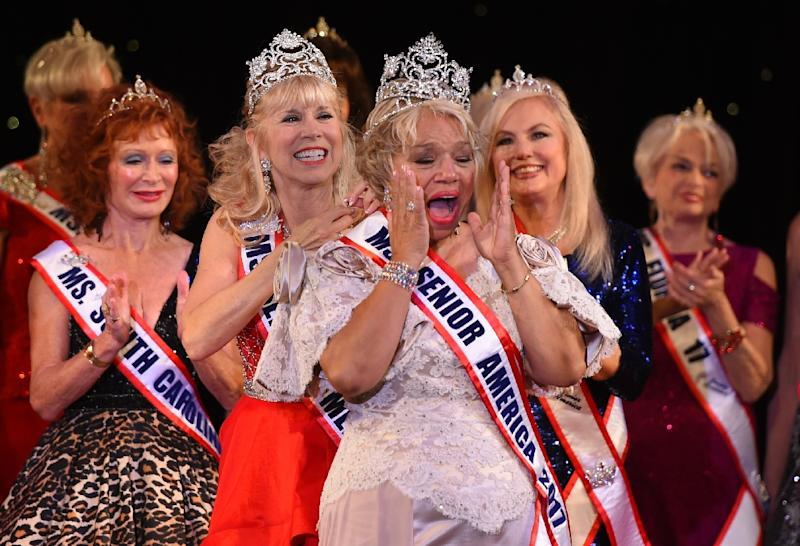 Ms. New Jersey Carolyn Slade Harden is crowned Ms. Senior America during the 38th Annual National Ms. Senior America 2017 Pageant at the Resorts Casino Hotel in Atlantic City, New Jersey, October 19, 2017 (AFP Photo/TIMOTHY A. CLARY)