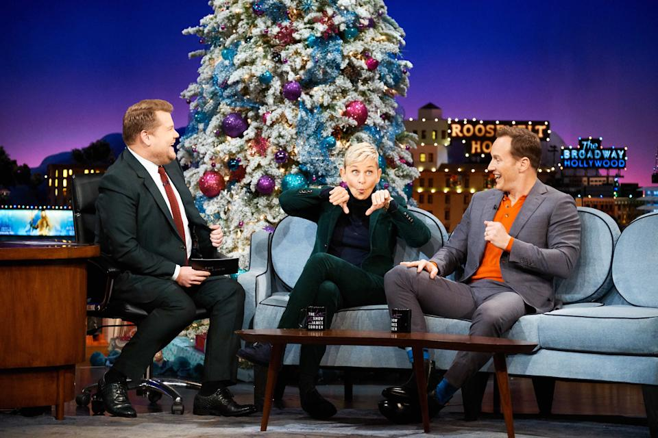 LOS ANGELES - DECEMBER 12: The Late Late Show with James Corden airing Tuesday, December 11, 2018, with guests Ellen DeGeneres and Patrick Wilson. (Photo by Terence Patrick/CBS via Getty Images)