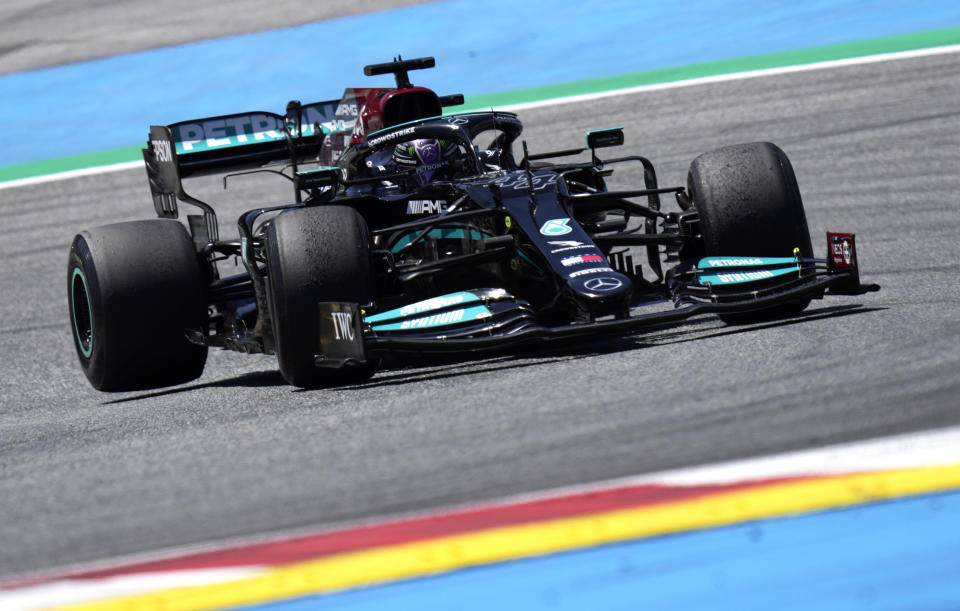 Mercedes driver Lewis Hamilton of Britain steers his car during the third free practice session for the Austrian Formula One Grand Prix at the Red Bull Ring racetrack in Spielberg, Austria, Saturday, July 3, 2021. The Austrian Grand Prix will be held on Sunday. (AP Photo/Darko Bandic)