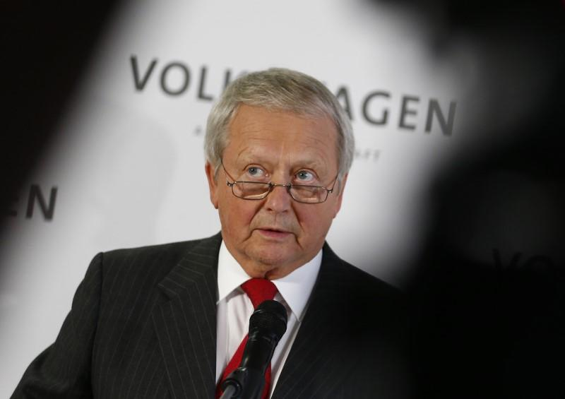 Porsche member of Volkswagen Supervisory board addresses news conference at headquarters in Wolfburg