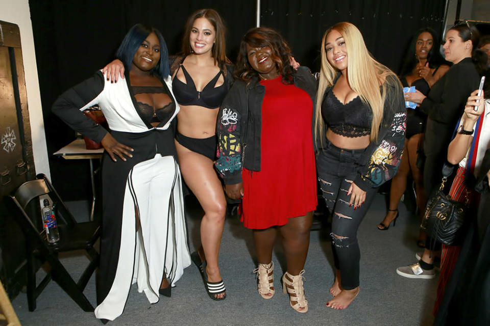 Left to right: Danielle Brooks, Ashley Graham, Gabourey Sidibe, and Jordyn Woods pose backstage for the Addition Elle NYFW September 2017 Presentation on Monday. (Photo: Getty Images)