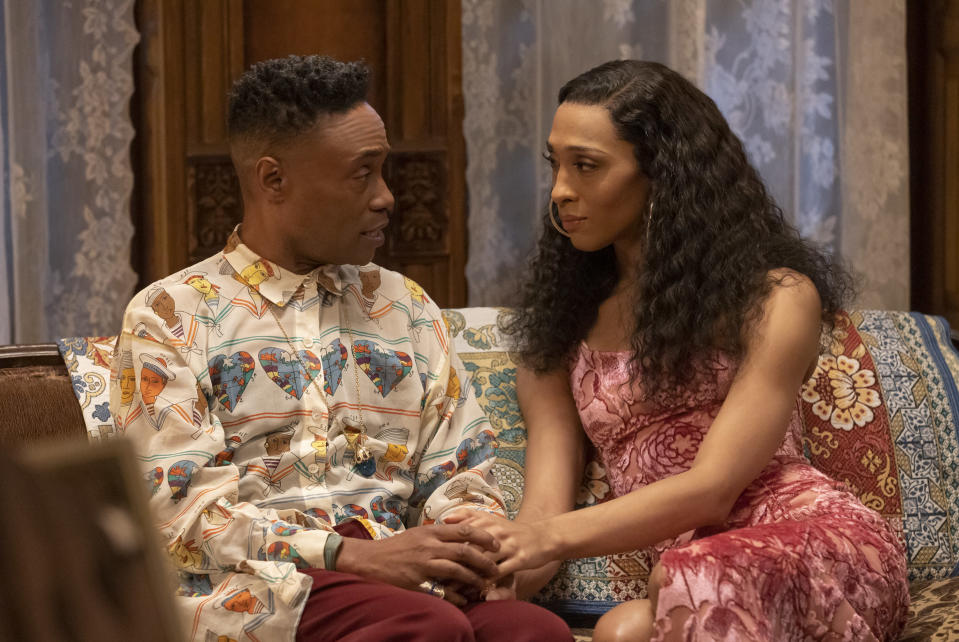 """This image released by FX shows Billy Porter as Pray Tell, left, and Mj Rodriguez as Blanca in a scene from """"Pose."""" Porter was nominated for an Emmy Award for outstanding leading actor in a drama series and Rodriguez was also nominated for an Emmy Award for outstanding leading actress for their roles in """"Pose."""" (Eric Liebowitz/FX via AP)"""