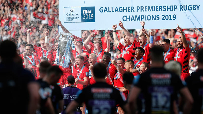 English and European rugby champions Saracens celebrate the 2019 championship.