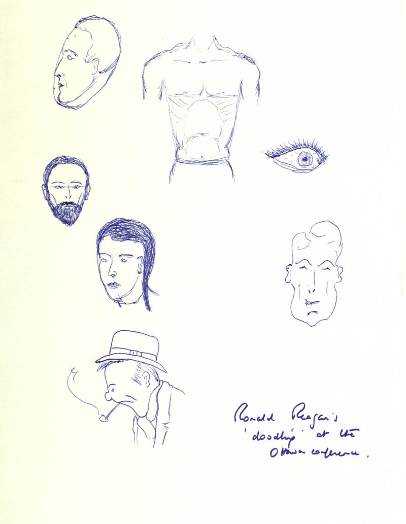 A page of ink drawings among personal papers from 1981 released Saturday March 17 2012, by the Thatcher Archive at Britain's Cambridge University. Britain's Prime Minister Margaret Thatcher was so fascinated by U.S. President Ronald Reagan that she snatched and kept this page of his doodles at a G7 summit, the former British prime minister's newly released papers reveal. Reagan left the piece of paper sitting on a table at the meeting near Ottawa, Canada in July 1981, adorned with a scribbled eye, a man's muscular torso and several heads including one that looks like a self portrait. (AP Photo/The Thatcher Archive)