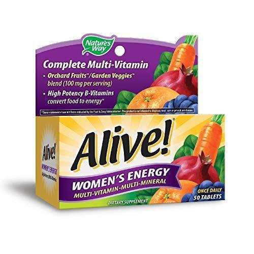 """<p><strong>Nature's Way Alive!</strong></p><p>Amazon</p><p><strong>$7.86</strong></p><p><a href=""""http://www.amazon.com/dp/B003QCPYGY/?tag=syn-yahoo-20&ascsubtag=%5Bartid%7C10070.g.3065%5Bsrc%7Cyahoo-us"""" rel=""""nofollow noopener"""" target=""""_blank"""" data-ylk=""""slk:SHOP NOW"""" class=""""link rapid-noclick-resp"""">SHOP NOW</a></p><p>Packed with a blend of 26 fruits and veggies — including broccoli, <a href=""""https://www.womansday.com/food-recipes/food-drinks/g20/pumpkin-desserts/"""" rel=""""nofollow noopener"""" target=""""_blank"""" data-ylk=""""slk:pumpkin"""" class=""""link rapid-noclick-resp"""">pumpkin</a>, tomato, and <a href=""""https://www.womansday.com/food-recipes/food-drinks/g1886/amazing-apple-desserts-for-fall/"""" rel=""""nofollow noopener"""" target=""""_blank"""" data-ylk=""""slk:apple"""" class=""""link rapid-noclick-resp"""">apple</a> — this multivitamin also contains <a href=""""https://www.healthline.com/health/brains-bones-boron"""" rel=""""nofollow noopener"""" target=""""_blank"""" data-ylk=""""slk:boron"""" class=""""link rapid-noclick-resp"""">boron</a>, a trace mineral that helps to improve bone strength and <a href=""""https://www.womansday.com/health-fitness/wellness/g3333/brain-health-tips/"""" rel=""""nofollow noopener"""" target=""""_blank"""" data-ylk=""""slk:brain function"""" class=""""link rapid-noclick-resp"""">brain function</a>, and <a href=""""https://www.aoa.org/patients-and-public/caring-for-your-vision/diet-and-nutrition/lutein"""" rel=""""nofollow noopener"""" target=""""_blank"""" data-ylk=""""slk:lutein"""" class=""""link rapid-noclick-resp"""">lutein</a>, a carotenoid that can <a href=""""https://www.womansday.com/health-fitness/g2940/what-eyes-say-about-your-health/"""" rel=""""nofollow noopener"""" target=""""_blank"""" data-ylk=""""slk:boost eye health"""" class=""""link rapid-noclick-resp"""">boost eye health</a>.</p>"""