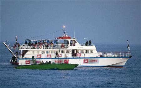 Israeli forces are seen aboard one of six ships bound for Gaza in the Mediterranean Sea