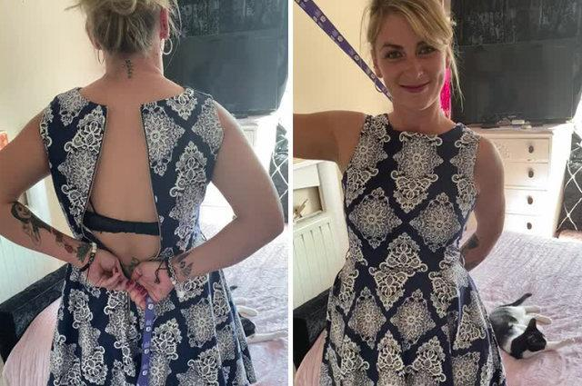 UK woman shares ingenious hack for zipping up a dress by herself