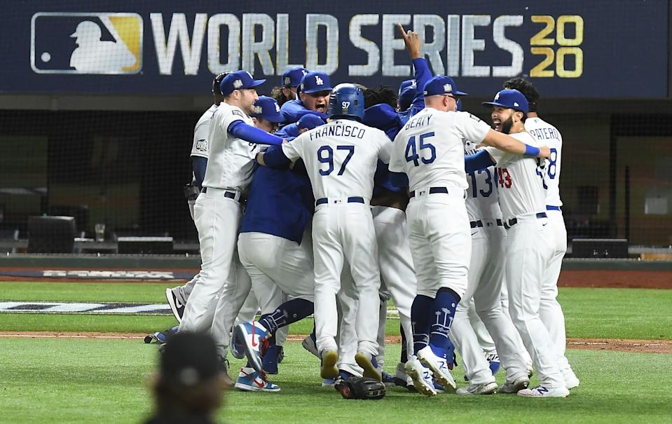 The Dodgers celebrate their World Series title after defeating the Tampa Bay Rays on Tuesday.