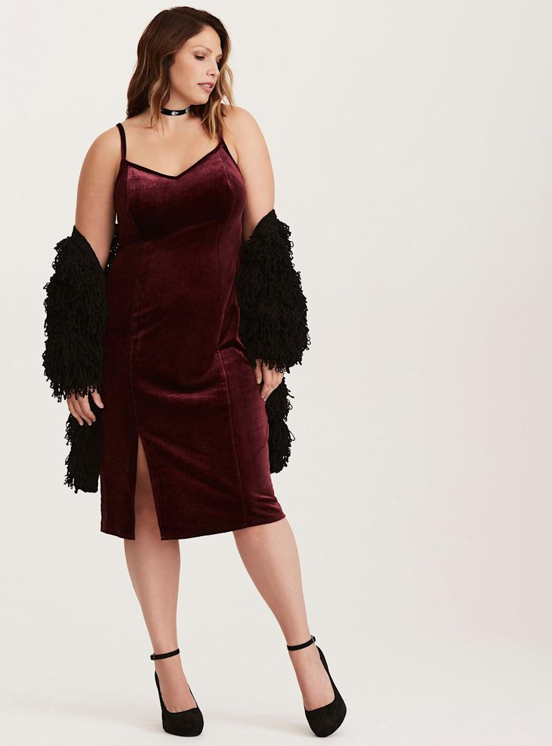 "From <a href=""http://www.torrid.com/product/special-occasion-wine-velvet-slip-dress/11060648.html?cgid=dresses_holiday"" target=""_blank"">Torrid</a>. Comes up to a size 6X."