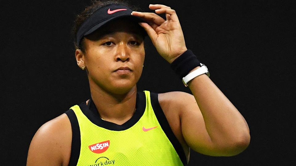 Naomi Osaka was knocked out of the US Open by Canada's Leylah Fernandez in a stunning boilover. (Photo by Ed JONES / AFP) (Photo by ED JONES/AFP via Getty Images)