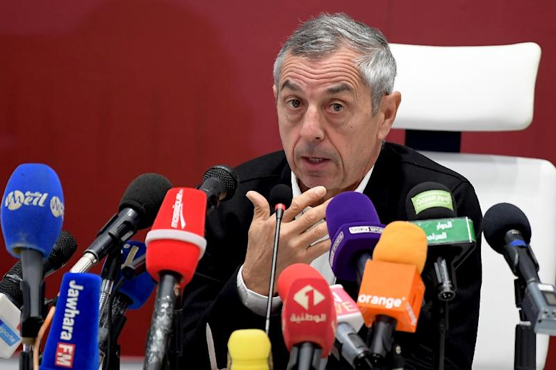 Tunisia coach and former France star Alain Giresse speaks to the media ahead of the Africa Cup of Nations in Egypt