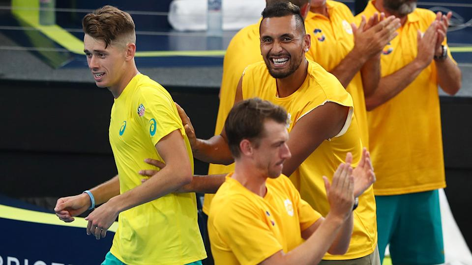 Nick Kyrgios, John Millman and Alex de Minaur, pictured here in action for Australia at the ATP Cup.