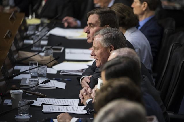 <p>Senator Richard Burr, a Republican from North Carolina and chairman of the Senate Intelligence Committee, center delivers opening remarks before the start of a Senate Intelligence Committee hearing with James Comey, former director of the Federal Bureau of Investigation (FBI), not pictured, in Washington on Thursday, June 8, 2017. (Photo: Zach Gibson/Bloomberg via Getty Images) </p>