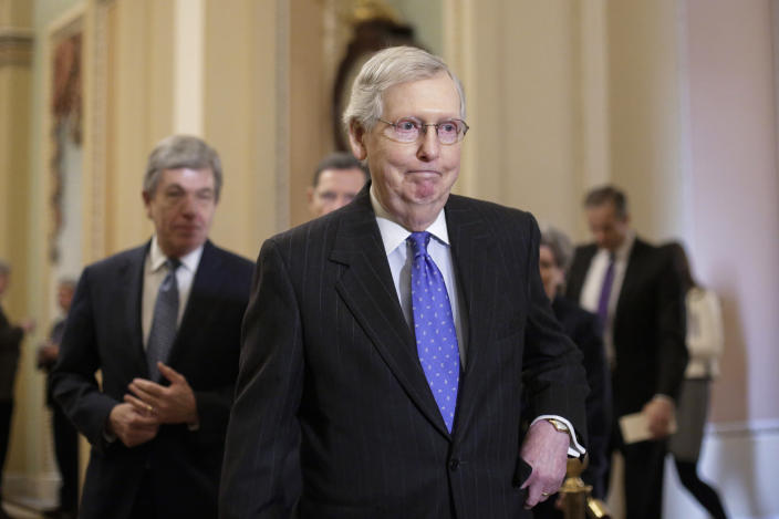 """In this Jan. 15, 2019, photo, Senate Majority Leader Mitch McConnell, R-Ky., arrives to speak to reporters following a weekly policy meeting on Capitol Hill in Washington. One of McConnell's guiding principles is: """"There's no education in the second kick of a mule."""" Now, deep in a government shutdown he wanted President Donald Trump to avoid, McConnell is not about to be kicked again. (AP Photo/J. Scott Applewhite)"""