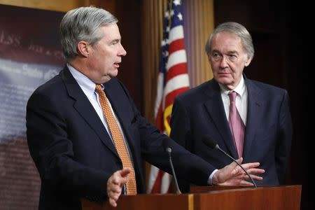 Senator Sheldon Whitehouse and Senator Edward Markey hold a news conference after a Senate vote on whether to overturn a presidential veto of the Keystone XL pipeline, at the U.S. Capitol in Washington, March 4, 2015. REUTERS/Jonathan Ernst