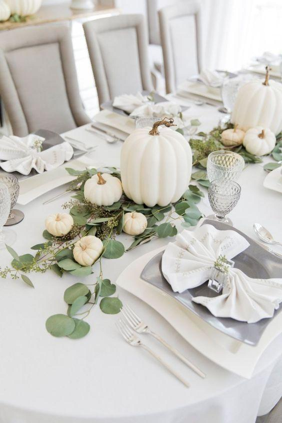 """<p>As chic as they come, an all-white Thanksgiving table takes the guesswork out of holiday decorating. The best part: Everything is sure to color-coordinate. </p><p><a class=""""link rapid-noclick-resp"""" href=""""http://fashionablehostess.com/thanksgiving-white-pumpkin-tablescape-with-villeroy-boch-new-wave-collection/"""" rel=""""nofollow noopener"""" target=""""_blank"""" data-ylk=""""slk:See more at Fashionable Hostess"""">See more at Fashionable Hostess</a></p>"""