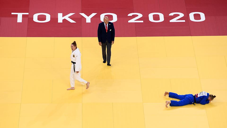 <p>Giovanna Scoccimarro of Germany celebrates defeating Aoife Coughlan of Australia during their women's -70kg elimination round of 16 match at the Nippon Budokan during the 2020 Tokyo Summer Olympic Games in Tokyo, Japan. (Photo By Stephen McCarthy/Sportsfile via Getty Images)</p>