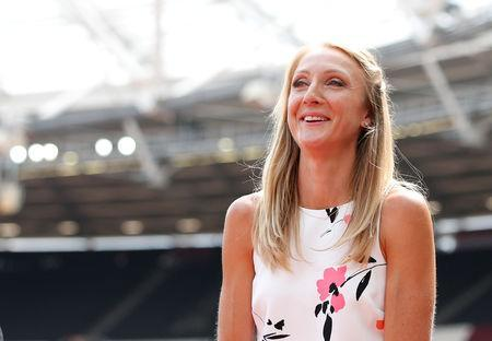 FILE PHOTO: Athletics - Diamond League - London Anniversary Games - The London Stadium, London, Britain - July 21, 2018 Former runner Paula Radcliffe before presenting Britain's Nicola Sanders, Marilyn Okoro, Kelly Sotherton and Christine Ohuruogu with their bronze medals for the women's 4x400m relay at the Beijing 2008 Olympic Games REUTERS/David Klein/File Photo