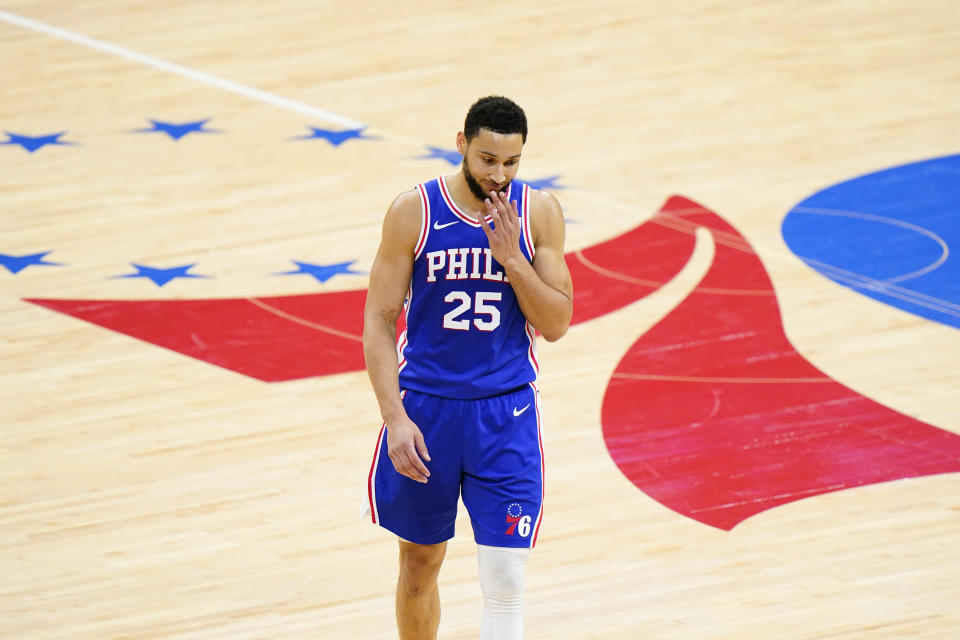 Philadelphia 76ers' Ben Simmons wipes his face after missing a pair of free-throws during the first half of Game 5 in a second-round NBA basketball playoff series against the Atlanta Hawks, Wednesday, June 16, 2021, in Philadelphia. (AP Photo/Matt Slocum)