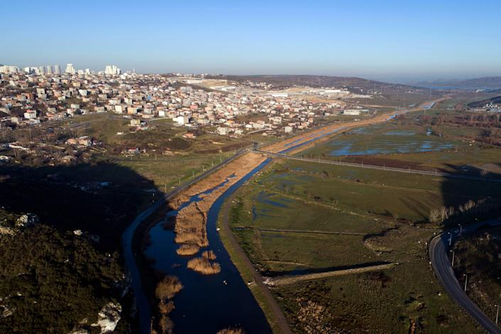 An aerial view of the Canal Istanbul project on January 2, 2020. | Erdem Sahin - EPA-EFE / Shutterstock