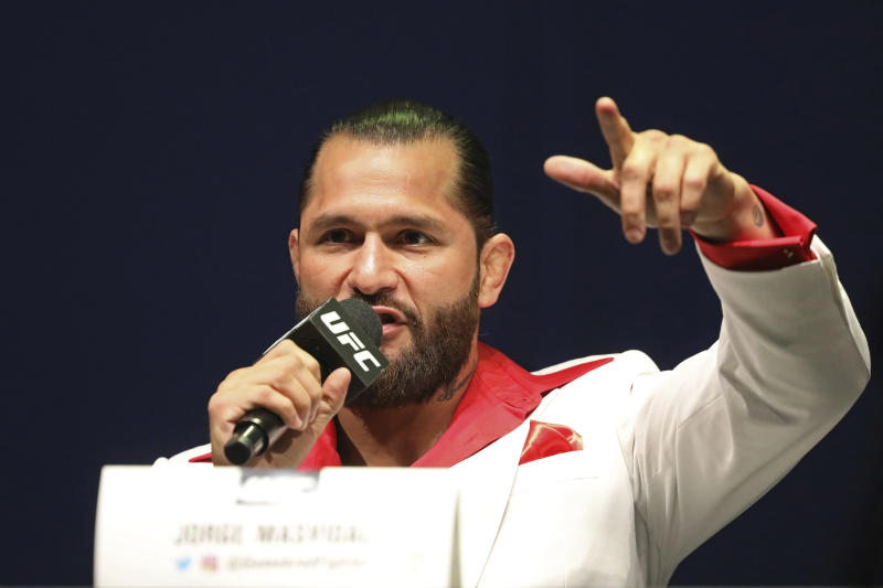 Jorge Masvidal speaks at a news conference for the UFC 244 mixed martial arts event, Thursday, Sept. 19, 2019, in New York. Masvidal is scheduled to fight Diaz Saturday, November 2 at Madison Square Garden. (AP Photo/Gregory Payan)