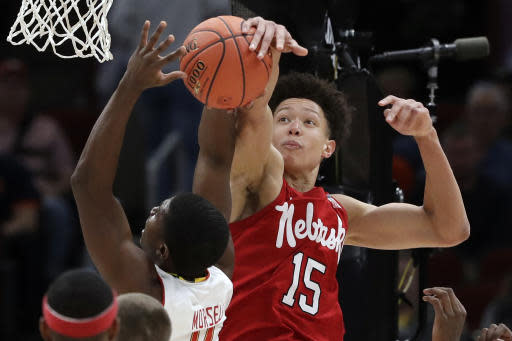 Nebraska's Isaiah Roby (15) blocks a shot by Maryland's Darryl Morsell (11) during the first half of an NCAA college basketball game in the second round of the Big Ten Conference tournament, Thursday, March 14, 2019, in Chicago. (AP Photo/Nam Y. Huh)