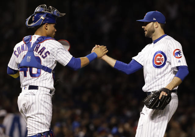 """Cubs reliever <a class=""""link rapid-noclick-resp"""" href=""""/mlb/players/8002/"""" data-ylk=""""slk:Brandon Morrow"""">Brandon Morrow</a> has settled into the closer role seamlessly in his first season with Chicago. (AP Photo/Nam Y. Huh)"""
