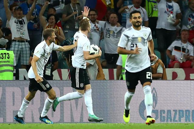 Soccer Football - World Cup - Group F - Germany vs Sweden - Fisht Stadium, Sochi, Russia - June 23, 2018 Germany's Marco Reus celebrates scoring their first goal with Thomas Muller REUTERS/Pilar Olivares