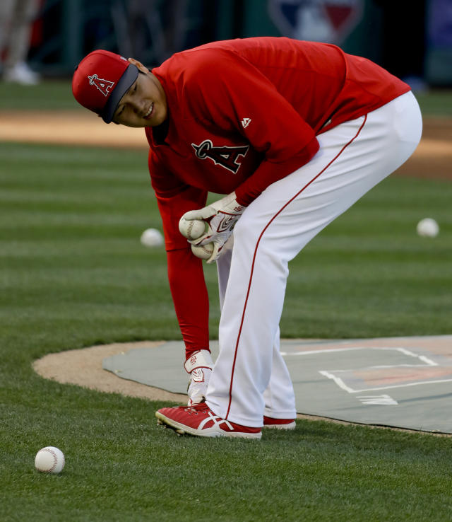 Los Angeles Angels designated hitter Shohei Ohtani, of Japan, picks up balls during batting practice before the team's baseball game against the San Francisco Giants in Anaheim, Calif., Friday, April 20, 2018. (AP Photo/Chris Carlson)