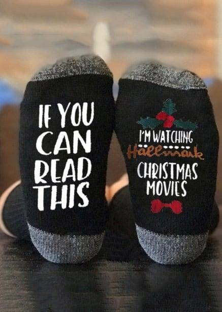"<p>These two-toned <a rel=""nofollow"" href=""https://www.popsugar.com/buy/I%27m%20Watching%20Hallmark%20Christmas%20Movies%20Socks-395784?p_name=I%27m%20Watching%20Hallmark%20Christmas%20Movies%20Socks&retailer=fairyseason.com&price=6&evar1=buzz%3Aus&evar9=45562445&evar98=https%3A%2F%2Fwww.popsugar.com%2Fentertainment%2Fphoto-gallery%2F45562445%2Fimage%2F45562495%2FIm-Watching-Hallmark-Christmas-Movies-Socks&prop13=mobile&pdata=1"" rel=""nofollow"">I'm Watching Hallmark Christmas Movies Socks</a> ($6) combine the holiday theme with the funny text.</p>"