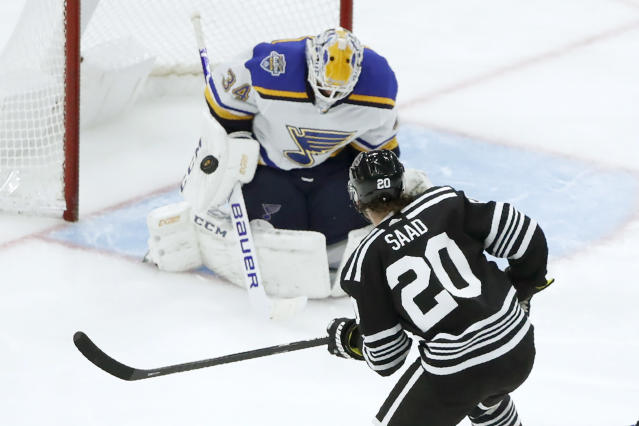 Chicago Blackhawks' Brandon Saad (20) watches as St. Louis Blues goaltender Jake Allen makes a save on his shot during the third period of an NHL hockey game Monday, Dec. 2, 2019, in Chicago. (AP Photo/Charles Rex Arbogast)