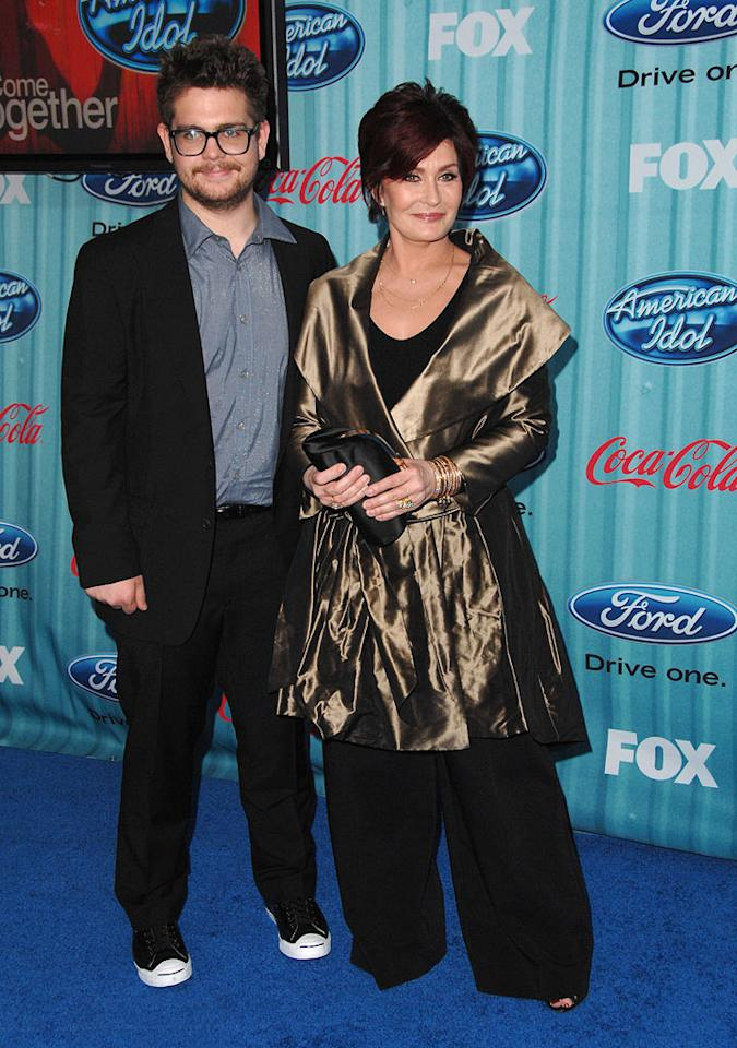 """<a href=""""/jack-osbourne/contributor/790846"""">Jack Osbourne</a> and <a href=""""/sharon-osbourne/contributor/790868"""">Sharon Osbourne</a> arrive at the <a href=""""/american-idol/show/34934"""">""""American Idol""""</a> Top 13 Party held at AREA nightclub on March 5, 2009 in Los Angeles, California."""
