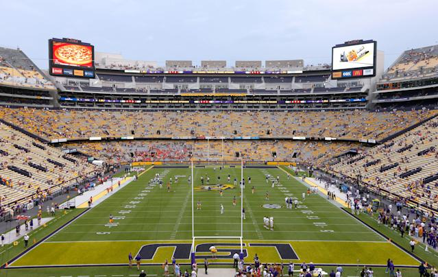 A general view of Tiger Stadium before an NCAA college football game in Baton Rouge, La., Saturday, Sept. 6, 2014. (AP Photo/Jonathan Bachman)