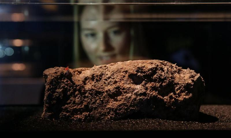 The piece of the Whitechapel fatberg that is on display at the Museum of London.