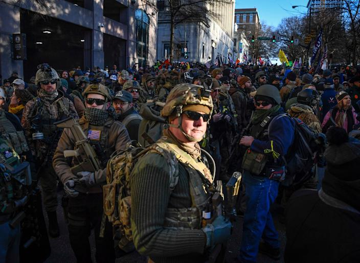 Gun rights advocates and members of unauthorized militias gather in Virginia's capital to protest potential gun control bills.
