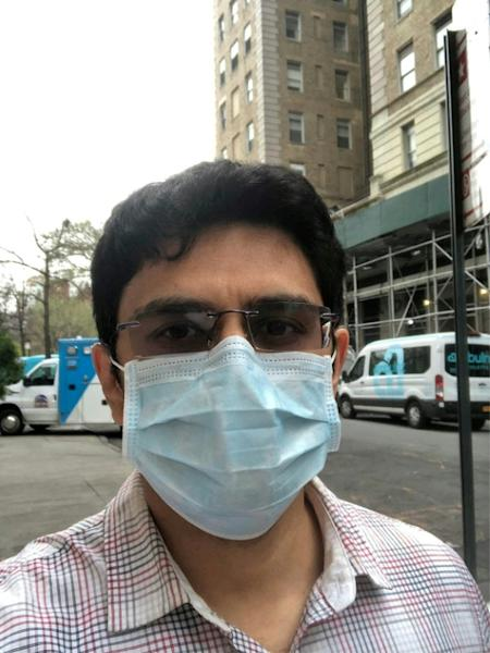 Shamit Patel, here outside New York's Beth Israel hospital, said that 85-90 percent of his patients are suffering from COVID-19