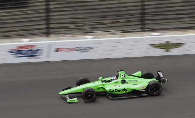 Danica Patrick drives during a practice session for the IndyCar Indianapolis 500 auto race at Indianapolis Motor Speedway, in Indianapolis Monday, May 21, 2018. (AP Photo/Darron Cummings)