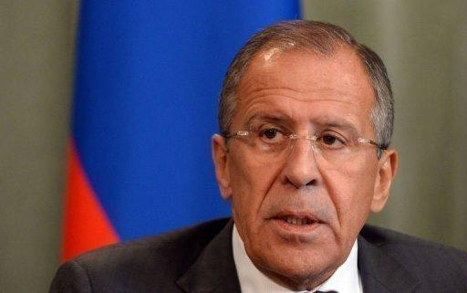 """<p>Russian Foreign Minister Sergei Lavrov gives a press conference with his Syrian counterpart on September 9, 2013 following a meeting in Moscow. Bashar al-Assad warned Monday the United States will """"pay the price"""" if it attacks Syria, as Moscow unveiled a plan to head off strikes by collecting Syrian chemical weapons</p>"""