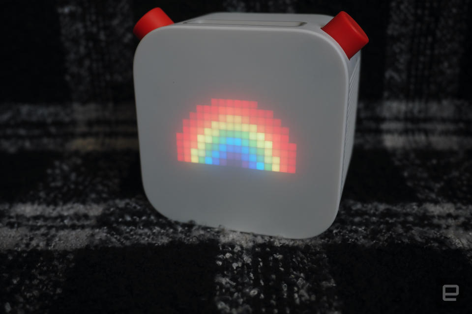 Yoto Player with rainbow on the display