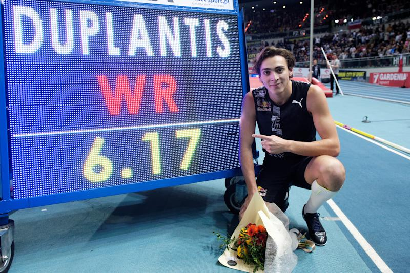 Armand Duplantis sets new indoor pole vault world record of 6.17m during Copernicus Cup on February 8, 2020 in Torun, Poland. (Photo by Rafal Oleksiewicz/PressFocus/MB Media/Getty Images)