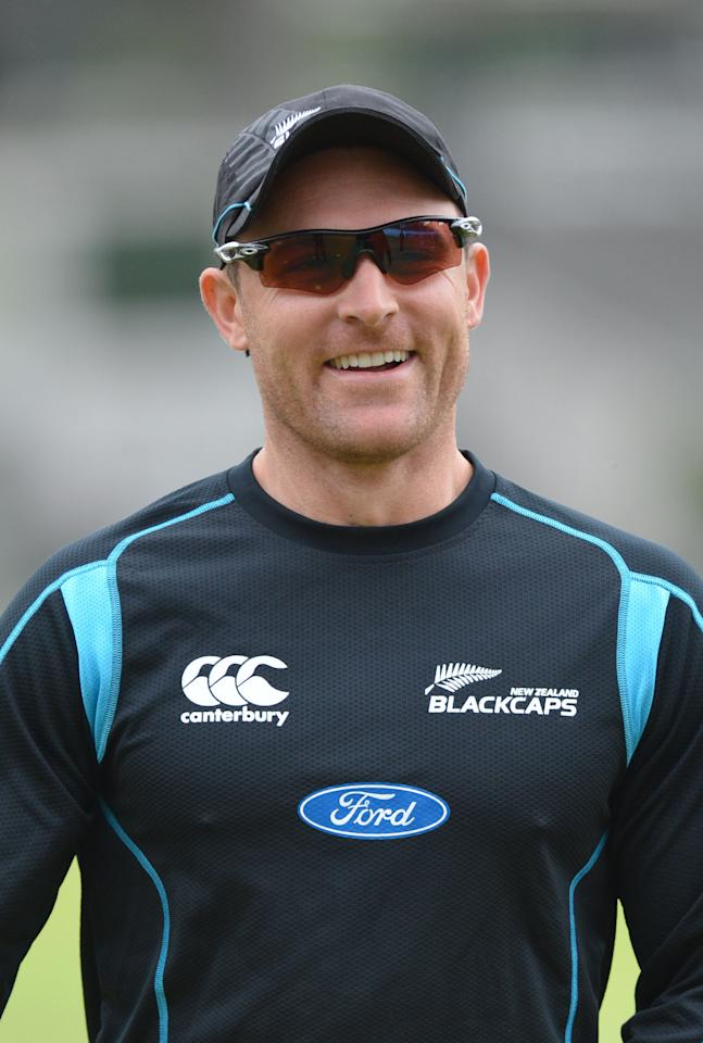 New Zealand's Brendon McCullum smiles during a nets session at Lord's Cricket Ground, London.
