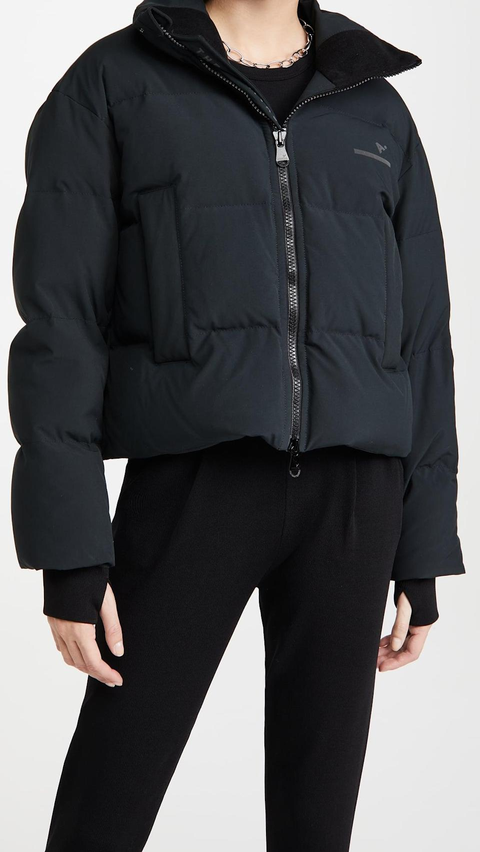 <p>We love the silhouette of a cropped puffer. This <span>The Arrivals Short Puffer</span> ($395) is so current right now.</p>